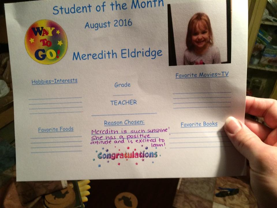 My daughter is student of the month during the first 11 days of Kindergarten August 2016.